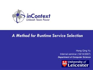 A Method for Runtime Service Selection