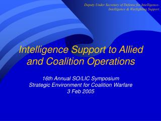 Intelligence Support to Allied and Coalition Operations