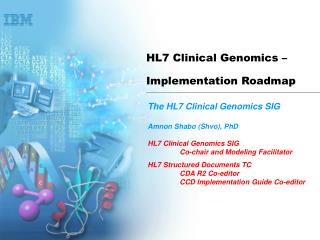 HL7 Clinical Genomics –  Implementation Roadmap