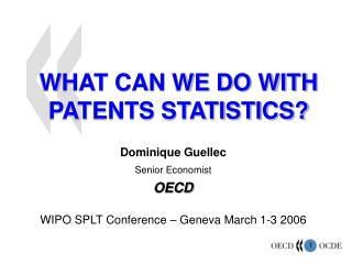 WHAT CAN WE DO WITH  PATENTS STATISTICS?