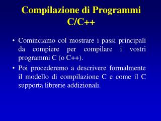 Compilazione di Programmi C/C++