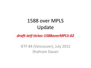 1588 over MPLS Update
