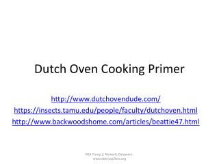 Dutch Oven Cooking Primer