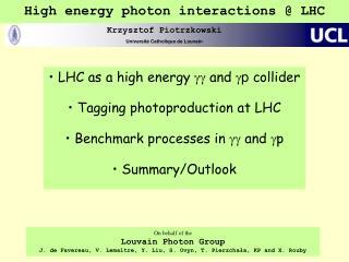High energy photon interactions @ LHC