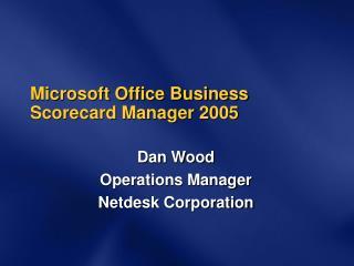 Microsoft Office Business Scorecard Manager 2005