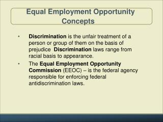 Equal Employment Opportunity  Concepts