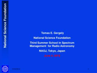 Tomas E. Gergely National Science Foundation