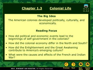 Chapter 1.3 Colonial Life