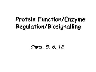 Protein Function/Enzyme     Regulation/Biosignalling