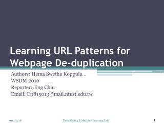 Learning URL Patterns for Webpage De-duplication