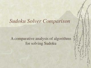 Sudoku Solver Comparison