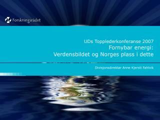 UDs Topplederkonferanse 2007 Fornybar energi:  Verdensbildet og Norges plass i dette