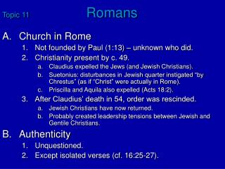 Topic 11	 Romans