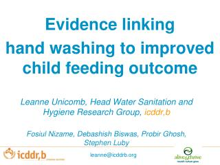 Evidence linking  hand washing to improved child feeding outcome