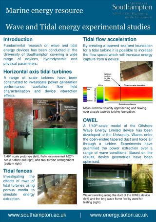 Wave and Tidal energy experimental studies