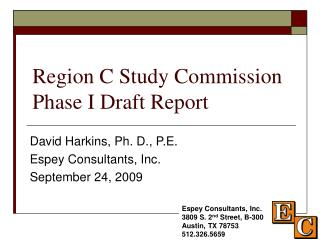 Region C Study Commission Phase I Draft Report
