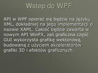 Wstep do WPF
