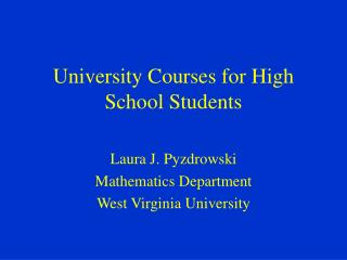 University Courses for High School Students