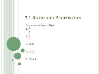 7-1 Ratio and Proportion