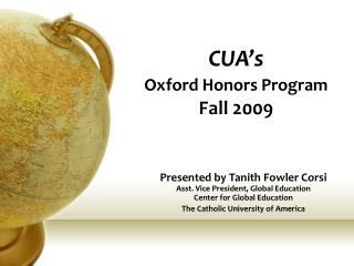CUA's Oxford Honors Program   Fall 2009