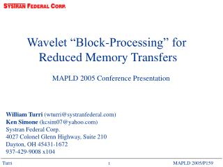 "Wavelet ""Block-Processing"" for  Reduced Memory Transfers"