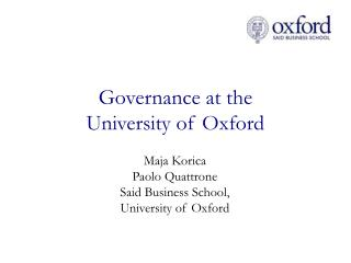 Governance at the  University of Oxford