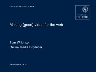Making (good) video for the web