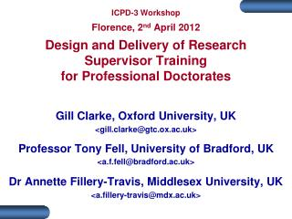 Gill Clarke, Oxford University, UK <gill.clarke@gtc.ox.ac.uk>