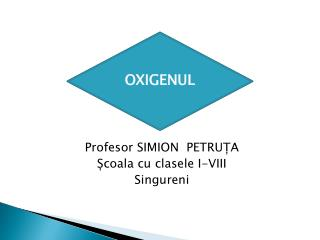 OXIGENUL Profesor SIMION  PETRUȚA Școala cu clasele I-VIII Singureni