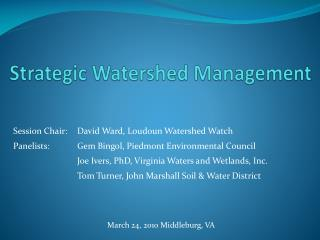 Strategic Watershed Management