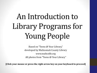 An Introduction to Library Programs for Young People