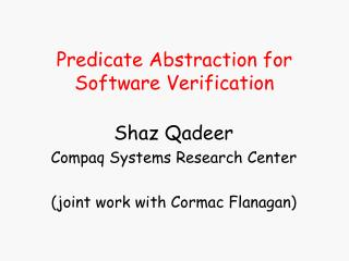 Predicate Abstraction for Software Verification