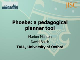 Phoebe: a pedagogical planner tool