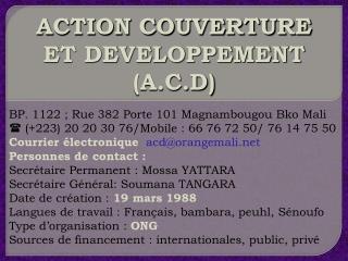 ACTION COUVERTURE ET DEVELOPPEMENT (A.C.D)