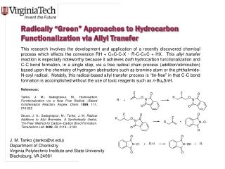 "Radically ""Green"" Approaches to Hydrocarbon Functionalization via Allyl Transfer"