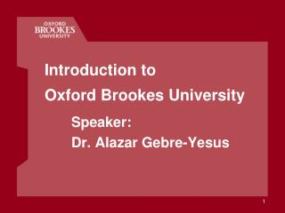 Introduction to Oxford Brookes University