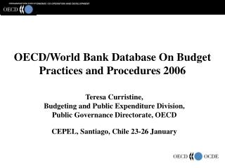 OECD/World Bank Database On Budget Practices and Procedures 2006