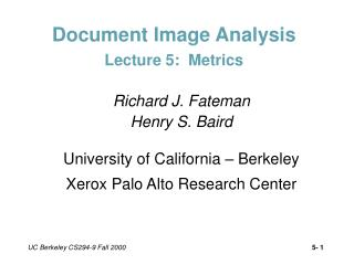 Document Image Analysis Lecture 5:  Metrics