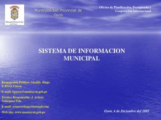 Municipalidad Provincial de Oyon
