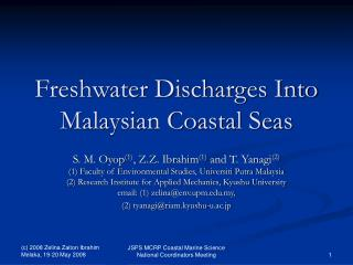 Freshwater Discharges Into Malaysian Coastal Seas