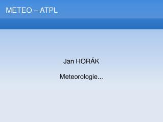 METEO – ATPL