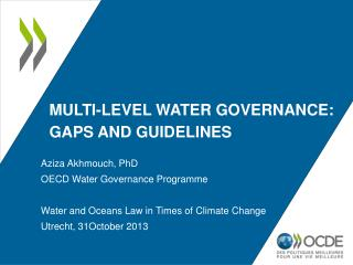 Multi-level water governance: gaps and guidelines
