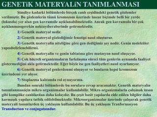 GENETiK MATERYALiN TANIMLANMASI