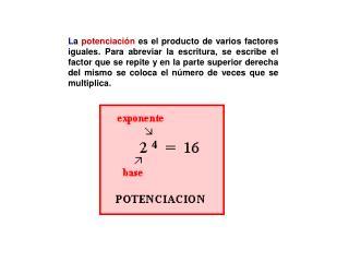 Definición Potenciar es multiplicar un número por si mismo una cantidad de  veces.