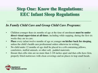 Step One: Know the Regulations: EEC Infant Sleep Regulations