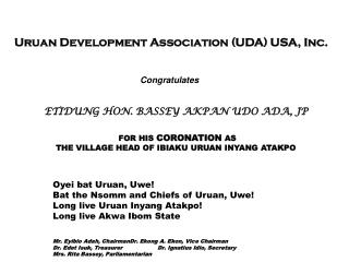 Uruan Development Association (UDA) USA, Inc.