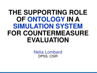 Ontologies and Simulations