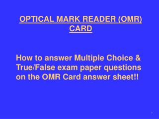 OPTICAL MARK READER (OMR) CARD