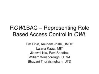 R OWL BAC – Representing Role Based Access Control in  OWL