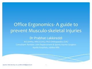 Office Ergonomics- A guide to prevent Musculo-skeletal Injuries